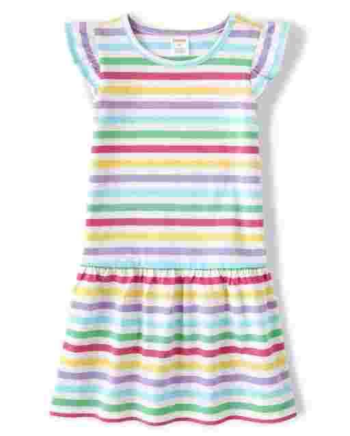 Girls Short Ruffle Sleeve Rainbow Striped Knit Dropped Waist Peplum Dress - Sunshine Time