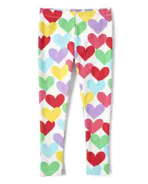 Girls Rainbow Heart Print Knit Leggings - Sunshine Time