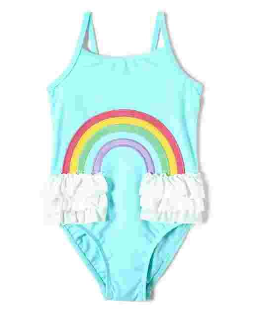 Girls Sleeveless Rainbow Ruffle One Piece Swimsuit - Sunshine Time