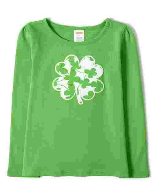 Girls Long Sleeve Embroidered Shamrock Top - Little Leprechaun