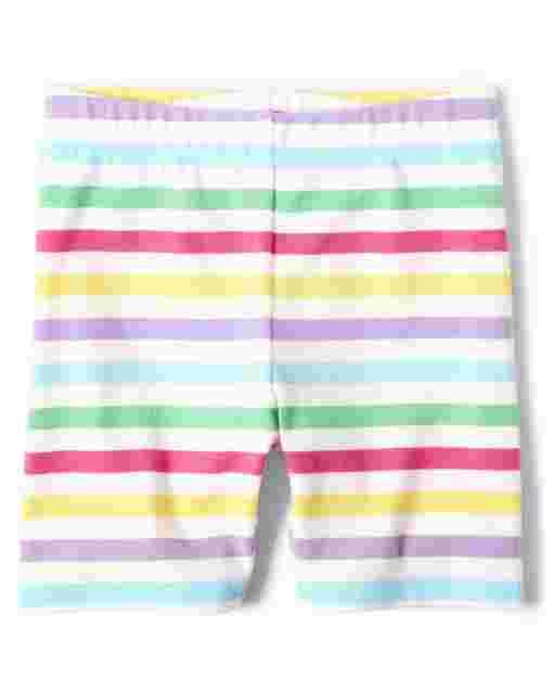 Girls Rainbow Striped Knit Shorts - Sunshine Time