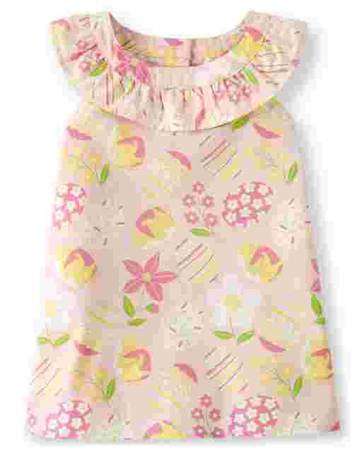 Girls Sleeveless Easter Egg And Flower Print Poplin Ruffle Top - Garden Party