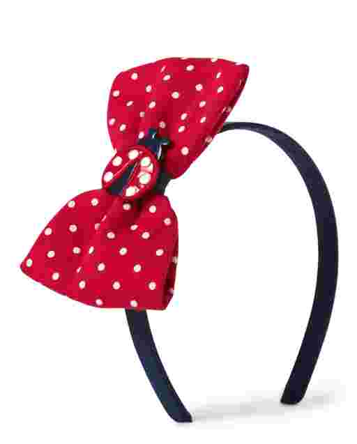 Girls Applique Ladybug Polka Dot Bow Headband - Little Ladybug