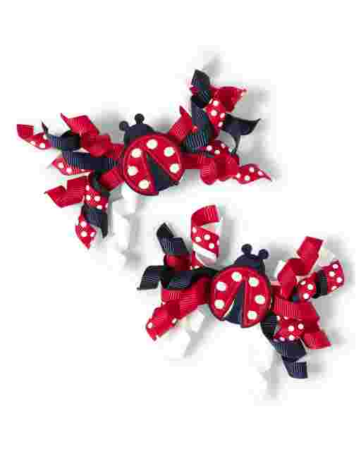 Girls Ladybug Polka Dot Curly Hair Clips 2-Pack - Little Ladybug