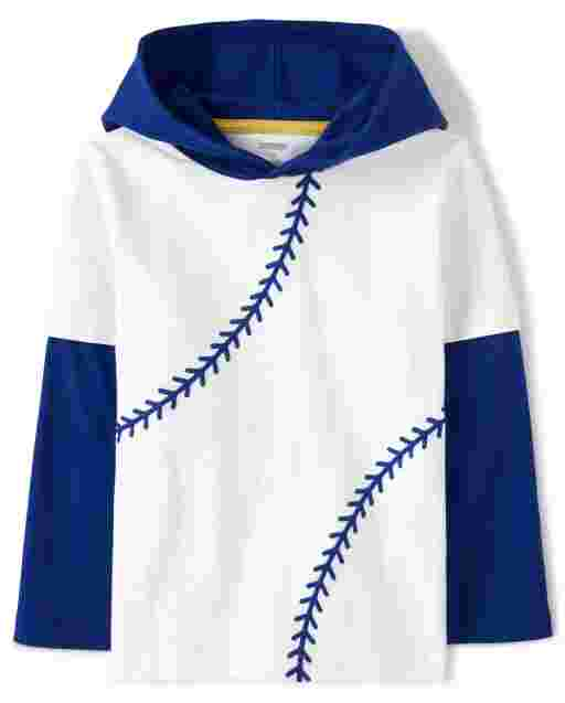 Boys Long Sleeve Baseball Stitch Hooded 2 In 1 Top - Lil Champ