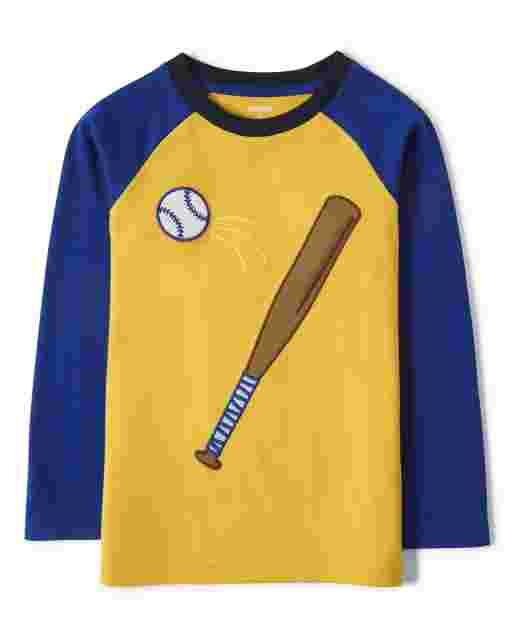 Boys Long Raglan Sleeve Embroidered Baseball Top - Lil Champ