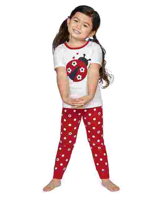 Girls Short Sleeve Little Ladybug Snug Fit Cotton 2-Piece Pajamas - Gymmies