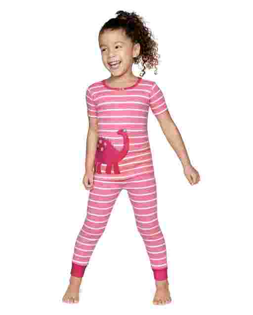 Girls Short Sleeve Dino Snug Fit Cotton 2-Piece Pajamas - Gymmies