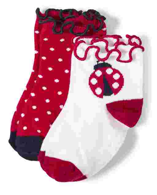 Girls Ladybug And Polka Dot Midi Socks 2-Pack - Little Ladybug