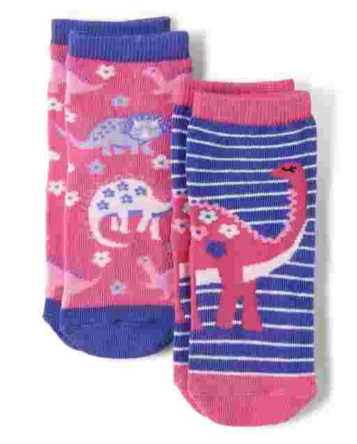 Girls Dino Striped And Dino Print Midi Socks 2-Pack - Hello Dino