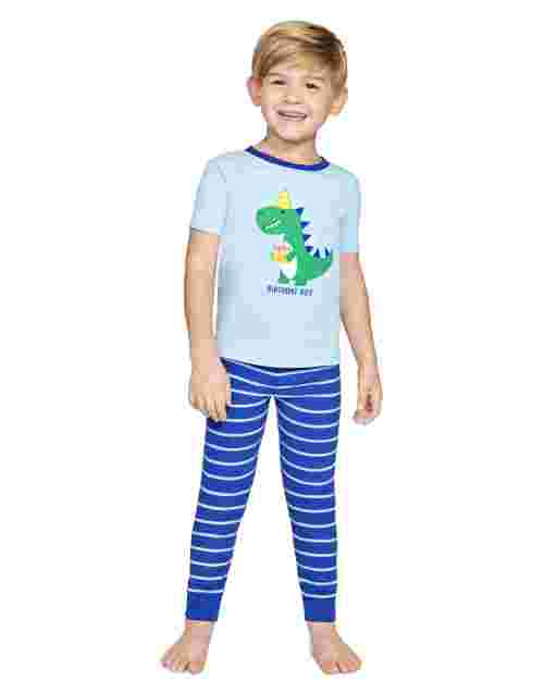 Boys Short Sleeve Birthday Snug Fit Cotton 2-Piece Pajamas - Gymmies