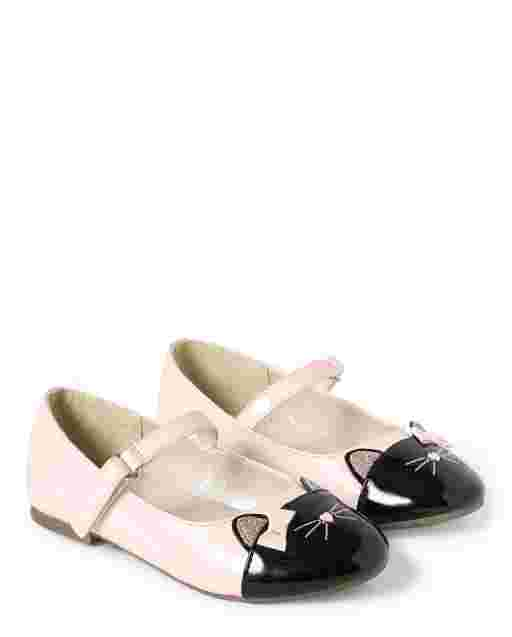 Girls Faux Leather Cat Ballet Flats - Puuurfect In Paris