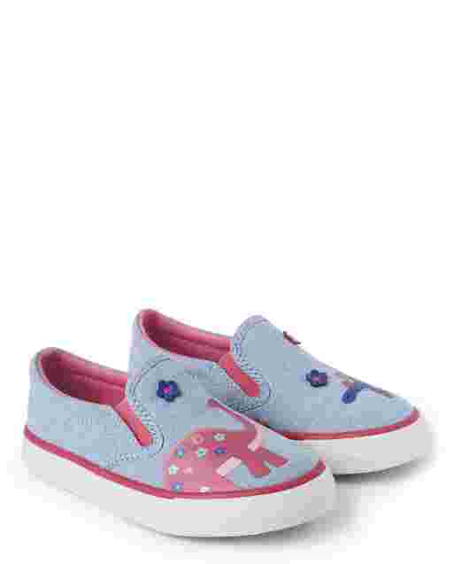 Girls Embroidered Dino Chambray Slip On Sneakers - Hello Dino