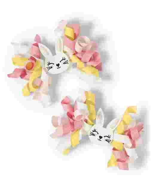 Girls Bunny Curly Hair Clips 2-Pack - Garden Party