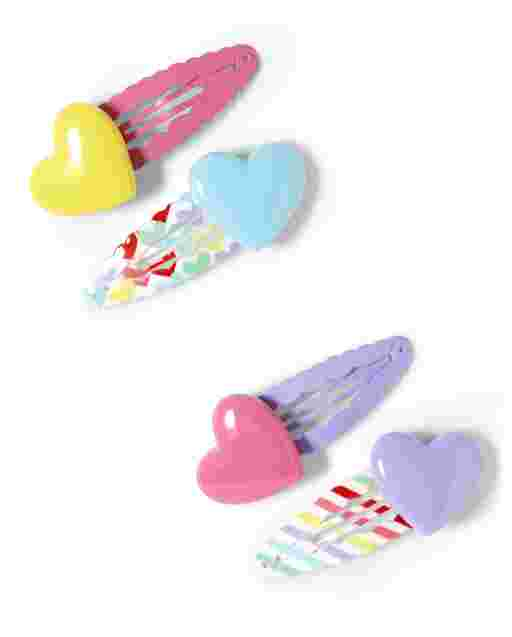 Girls Heart Hair Clips 4-Pack - Sunshine Time