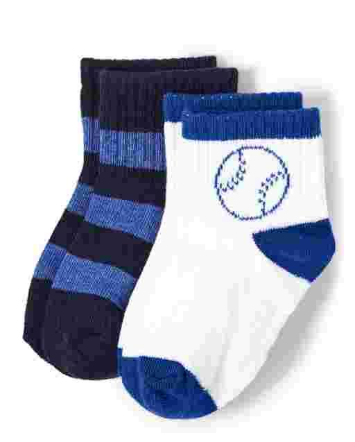 Boys Striped And Baseball Midi Socks 2-Pack - Lil Champ