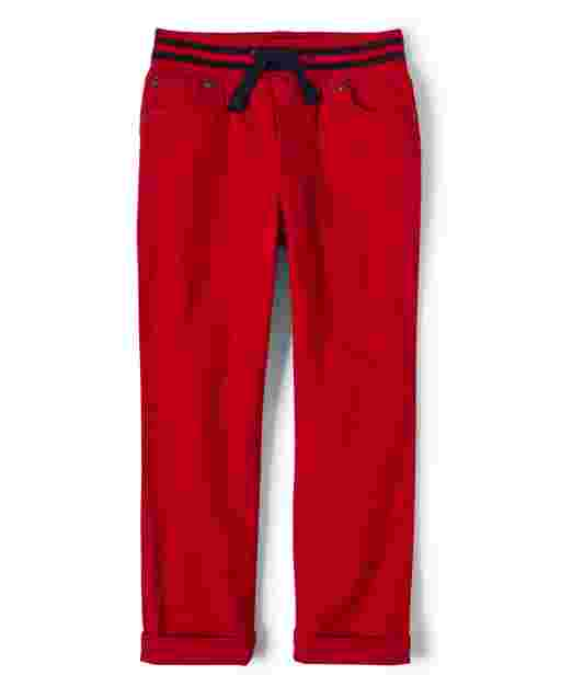 Boys Woven Stretch Twill Pull On Roll Cuff Pants - All Aboard