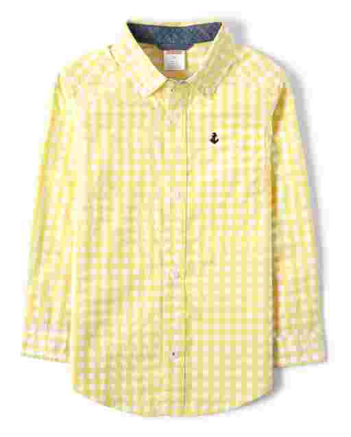 Boys Long Sleeve Embroidered Gingham Poplin Button Up Shirt - Country Club