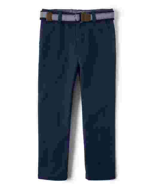 Boys Belted Woven Chino Pants - Country Club