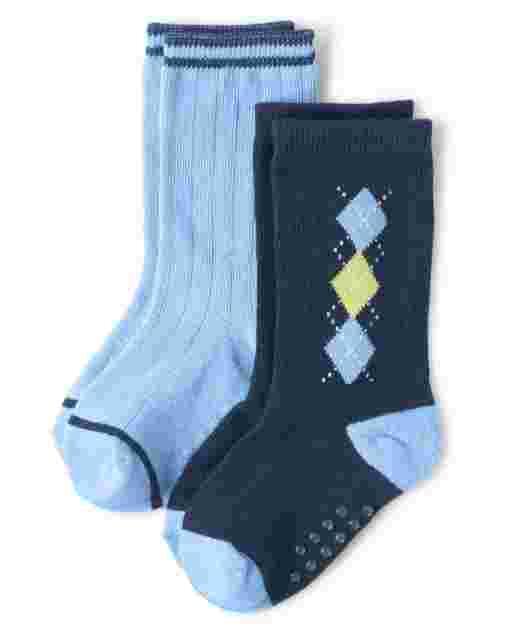Boys Argyle Crew Socks 2-Pack - Country Club