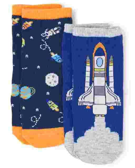 Unisex Rocket Ship And Space Print Midi Socks 2-Pack - Future Astronaut