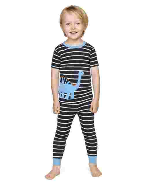 Boys Short Sleeve Dino Snug Fit Cotton 2-Piece Pajamas - Gymmies