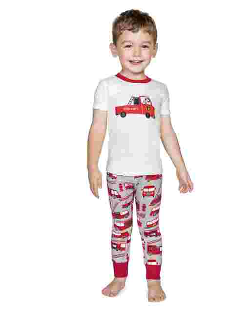 Boys Short Sleeve Firetruck Snug Fit Cotton 2-Piece Pajamas - Gymmies