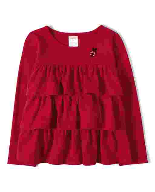 Girls Long Sleeve Applique Ladybug Tiered Ruffle Top - Little Ladybug