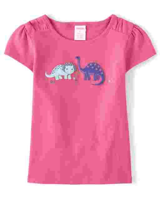 Girls Short Sleeve Embroidered Dino Top - Hello Dino