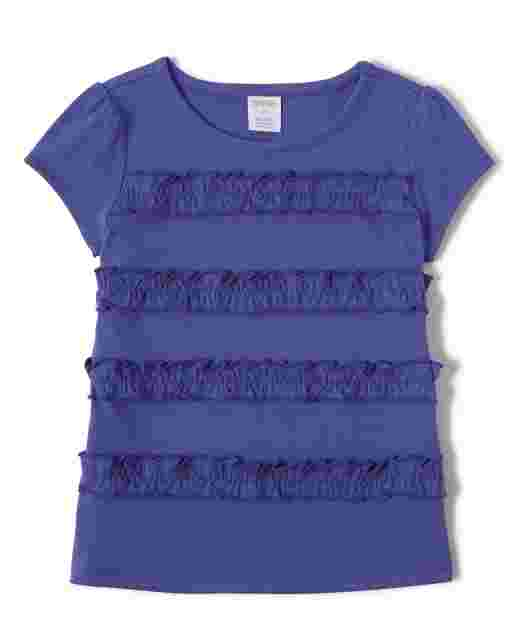 Girls Short Sleeve Ruffle Top - Hello Dino