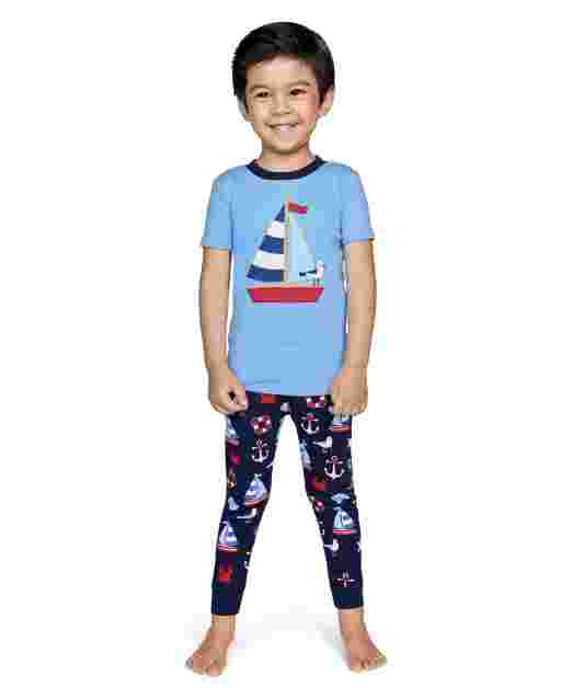 Boys Short Sleeve All Aboard Snug Fit Cotton 2-Piece Pajamas - Gymmies