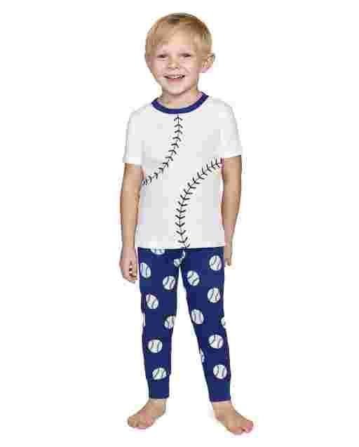 Pijama de 2 piezas de algodón con ajuste ceñido Lil Champ de manga corta para niños - Gymmies