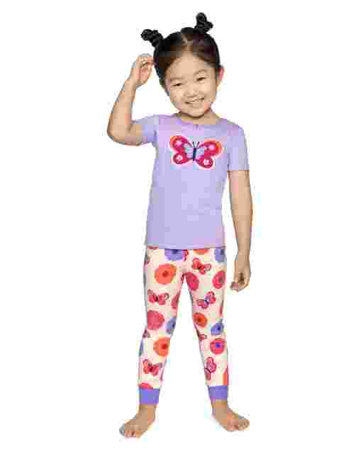 Girls Short Sleeve Butterfly Snug Fit Cotton 2-Piece Pajamas - Gymmies