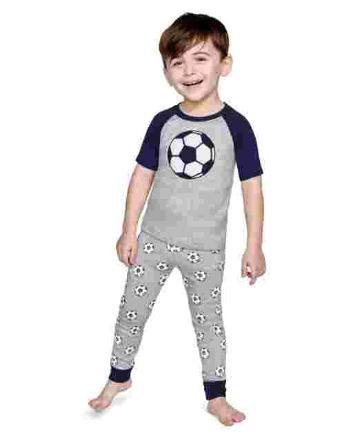 Boys Short Sleeve Ready, Set, Goal Snug Fit Cotton 2-Piece Pajamas - Gymmies