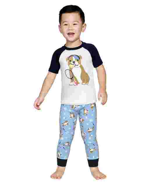 Boys Short Sleeve Tennis Dog Snug Fit Cotton 2-Piece Pajamas - Gymmies