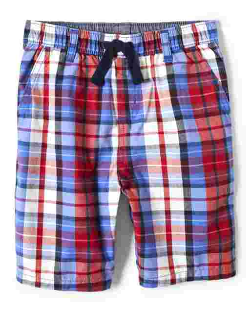 Boys Poplin Plaid Pull On Shorts - Ready, Set, Goal
