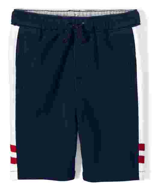 Boys Side Stripe French Terry Knit Pull On Shorts - Ready, Set, Goal
