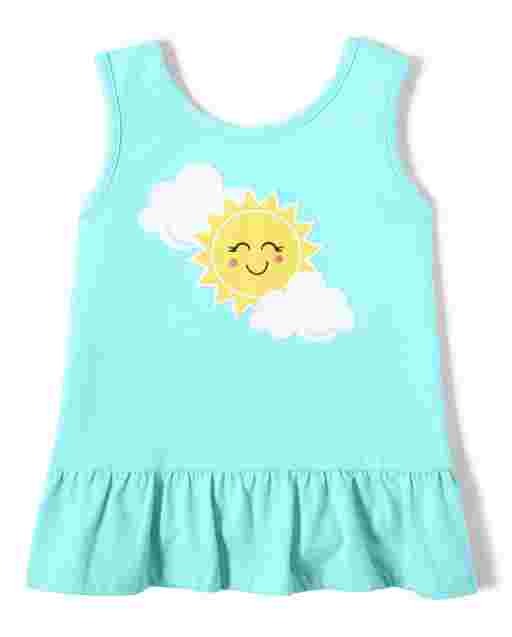 Girls Sleeveless Embroidered Sun And Clouds Peplum Top - Sunshine Time