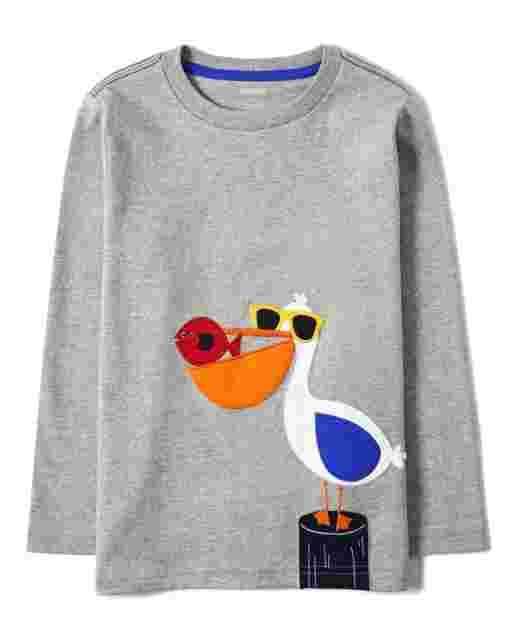 Camiseta de manga larga con bordado de pelícano para niño - Todo a bordo