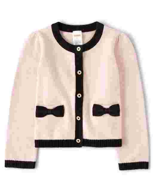 Girls Long Sleeve Bow Cardigan - Puuurfect In Paris