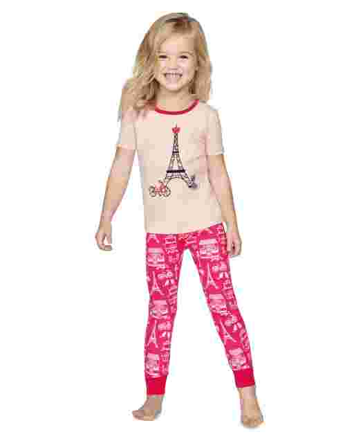 Girls Short Sleeve Puuurfect In Paris Snug Fit Cotton 2-Piece Pajamas - Gymmies