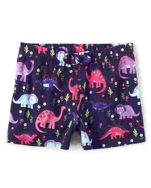 Girls Dino Print Knit Bow Shorts - Hello Dino