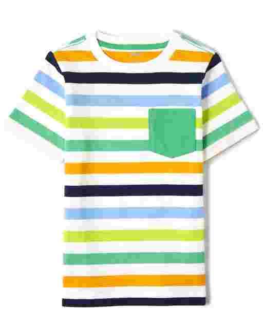 Boys Short Sleeve Striped Pocket Top