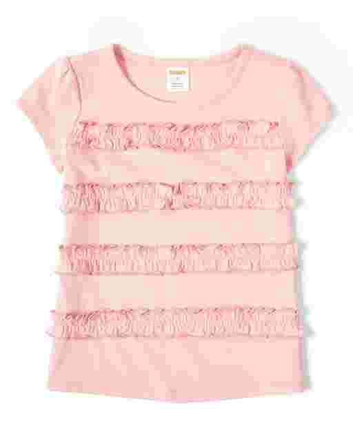 Girls Short Sleeve Ruffle Top - Garden Party