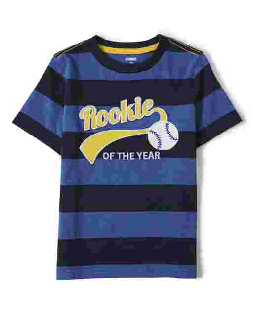Boys Short Sleeve Embroidered 'Rookie Of The Year' Striped Top - Lil Champ