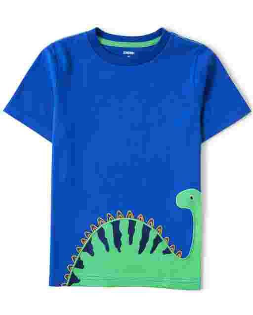 Boys Short Sleeve Embroidered Dino Top - Hello Dino