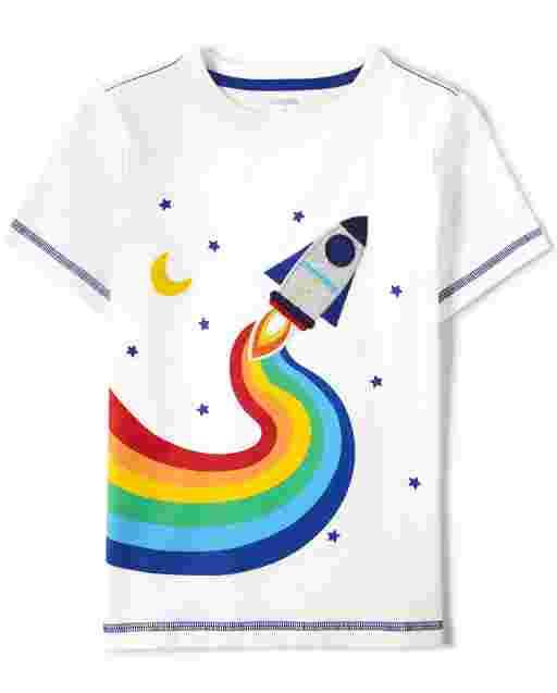 Unisex Short Sleeve Embroidered Rainbow Rocket Ship Top - Future Astronaut