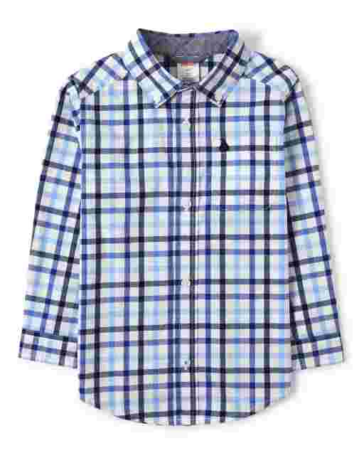 Boys Long Sleeve Embroidered Plaid Poplin Button Up Shirt - Country Club