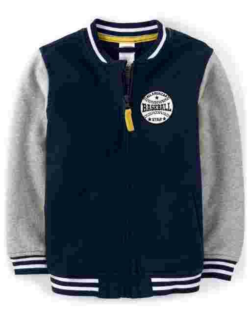 Boys Long Sleeve Embroidered Baseball Varsity Jacket - Lil Champ