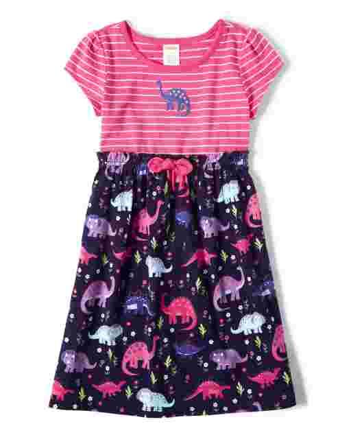 Girls Short Sleeve Striped And Dino Print Knit Dress - Hello Dino